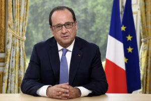 French President Francois Hollande answers questions during the annual television interview on Bastille Day at the Elysee Palace in Paris on July 14, 2015. AFP PHOTO / POOL/ ALAIN JOCARD